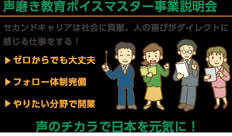 セカンドキャリアは社会に貢献、人の喜びがダイレクトに 感じる仕事をする!やりたい分野で開業フォロー体制完備ゼロからでも大丈夫声のチカラで日本を元気に!声磨き教育ボイスマスター事業説明会